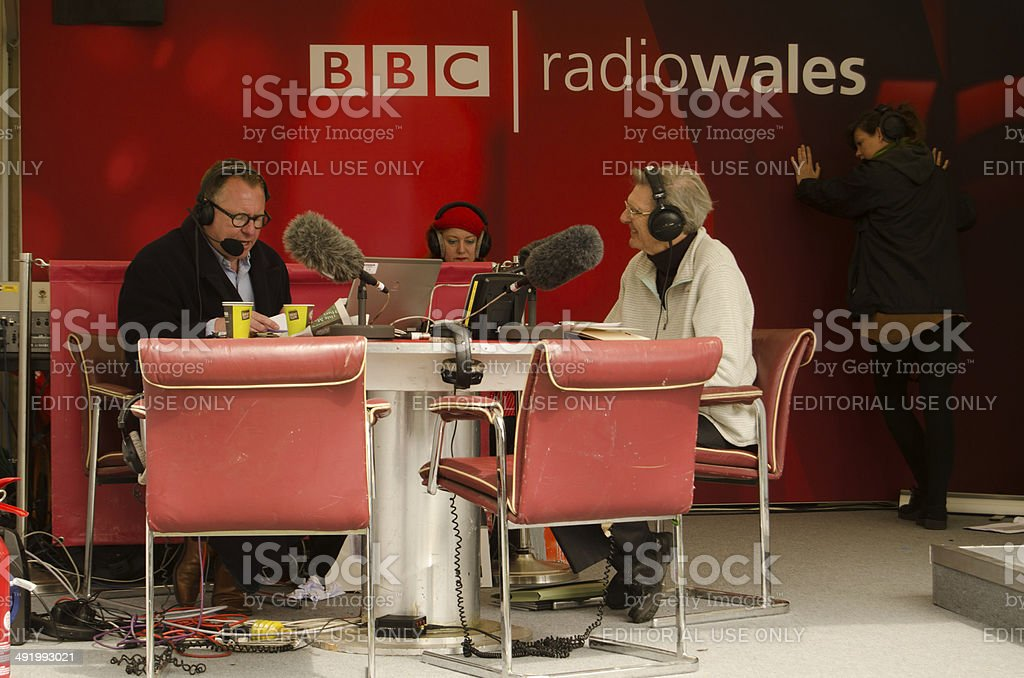 Professor Wynn Thomas on BBC Radio Wales stock photo
