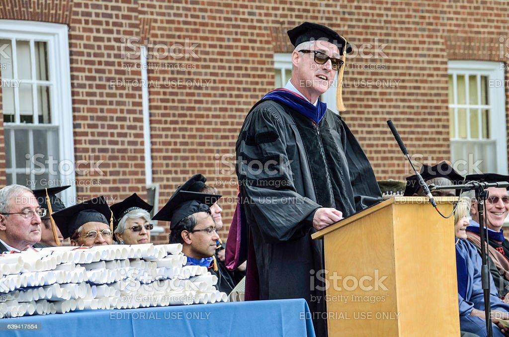 Professors listening to speaker at graduation at University of Virginia stock photo