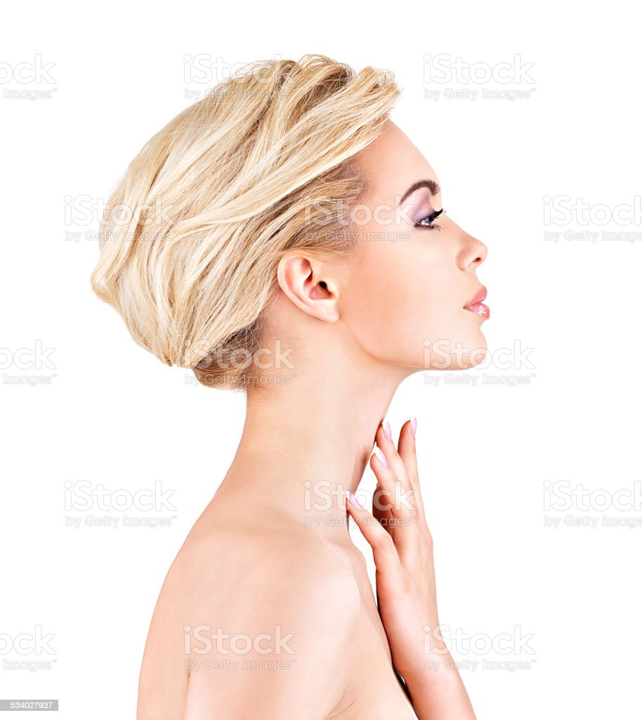 Profile face of  young  woman stock photo