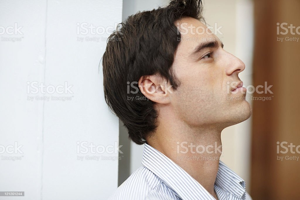 Profile image of thoughtful young man royalty-free stock photo