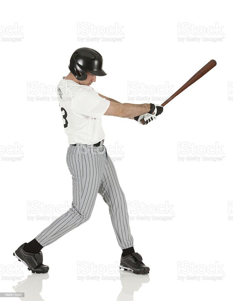 Profile of a baseball player stock photo