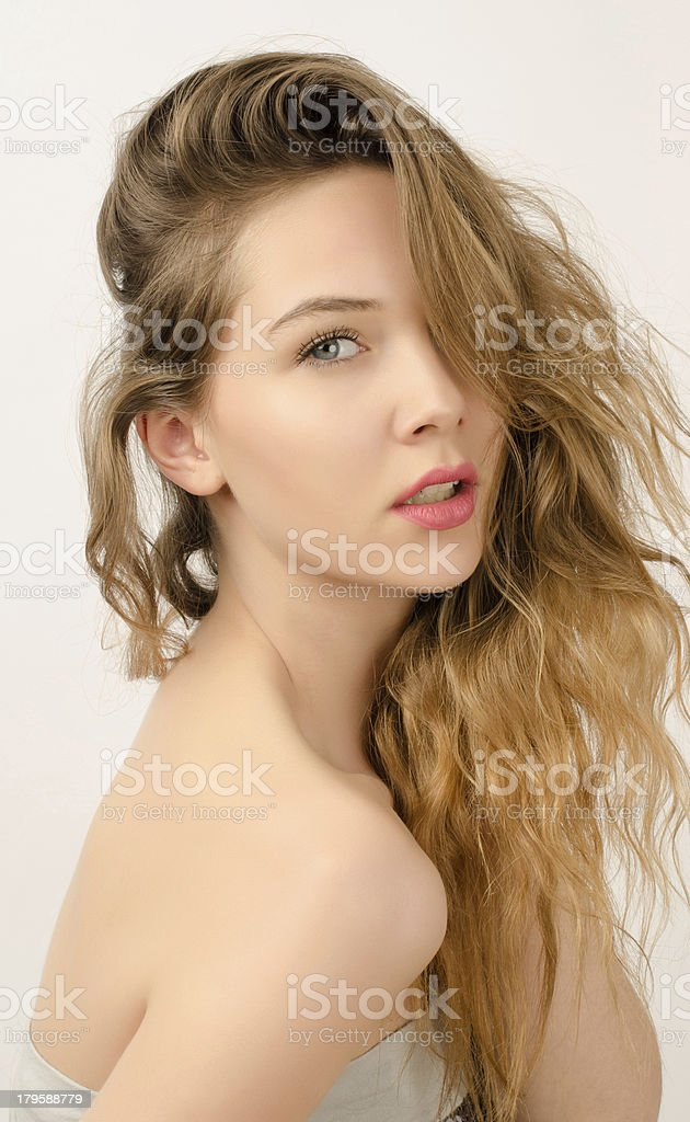 Profile of a beautiful blonde woman royalty-free stock photo
