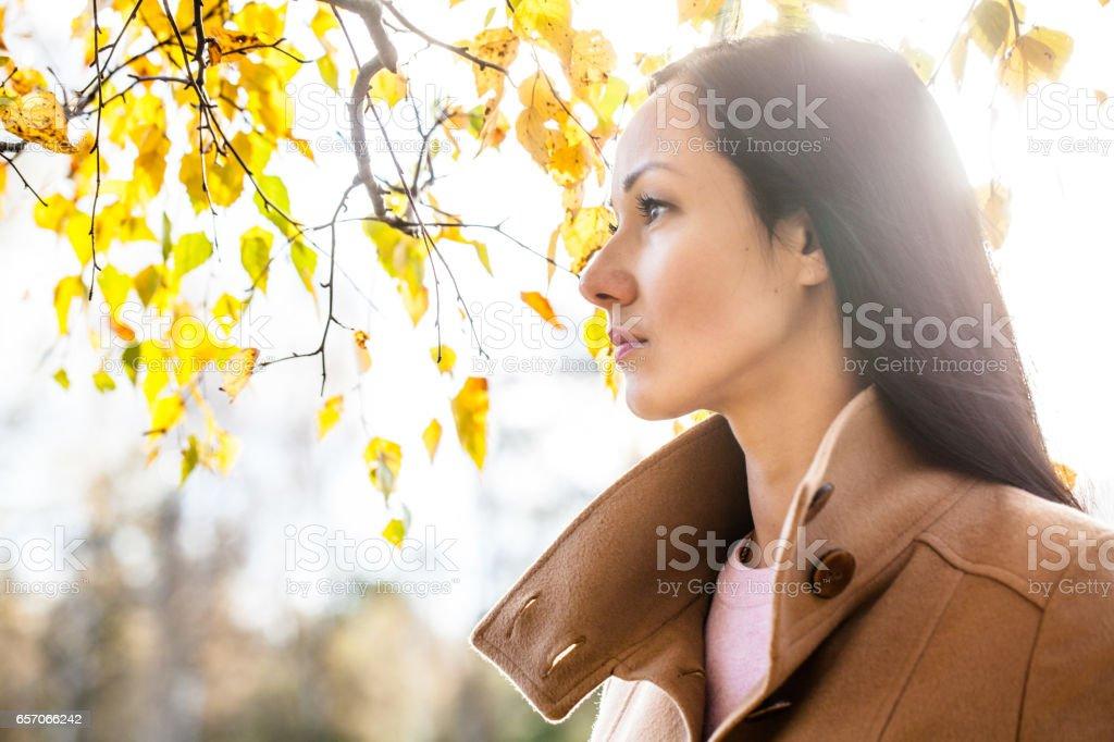 Profile of a beautiful woman stock photo