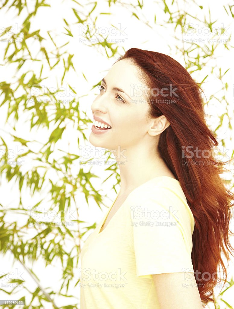 Profile of a beautiful young woman stock photo