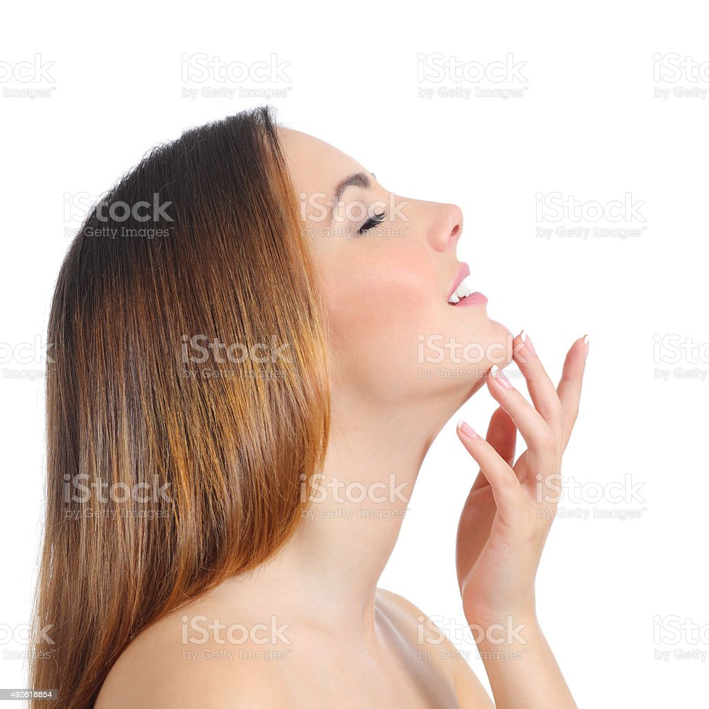Profile of a beauty woman face skin and hand manicure stock photo