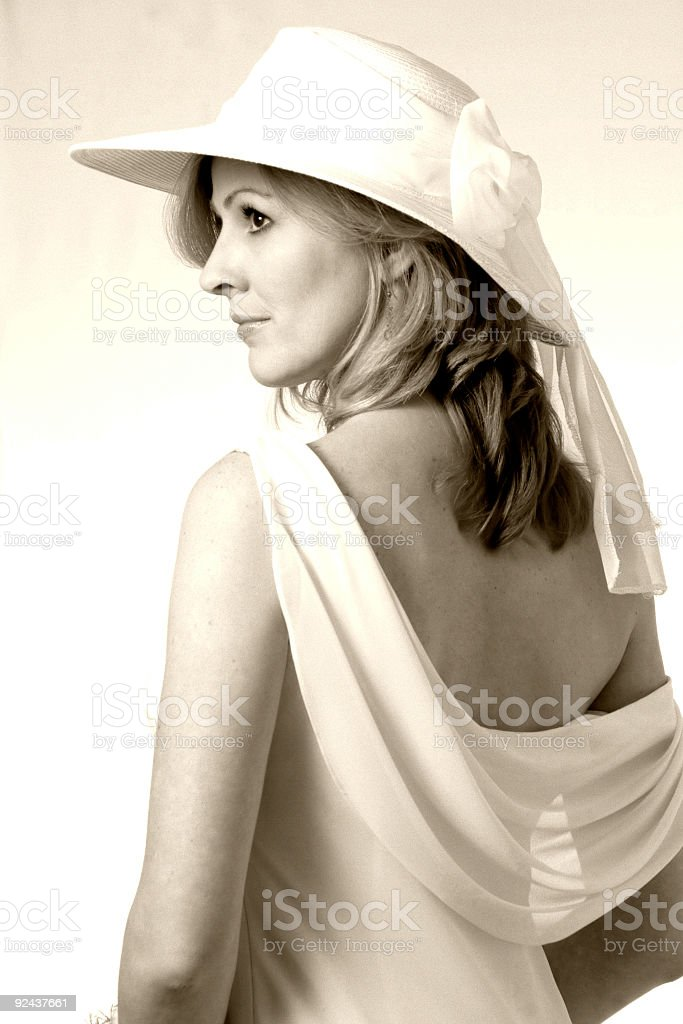 Profile of a bride in sepia royalty-free stock photo