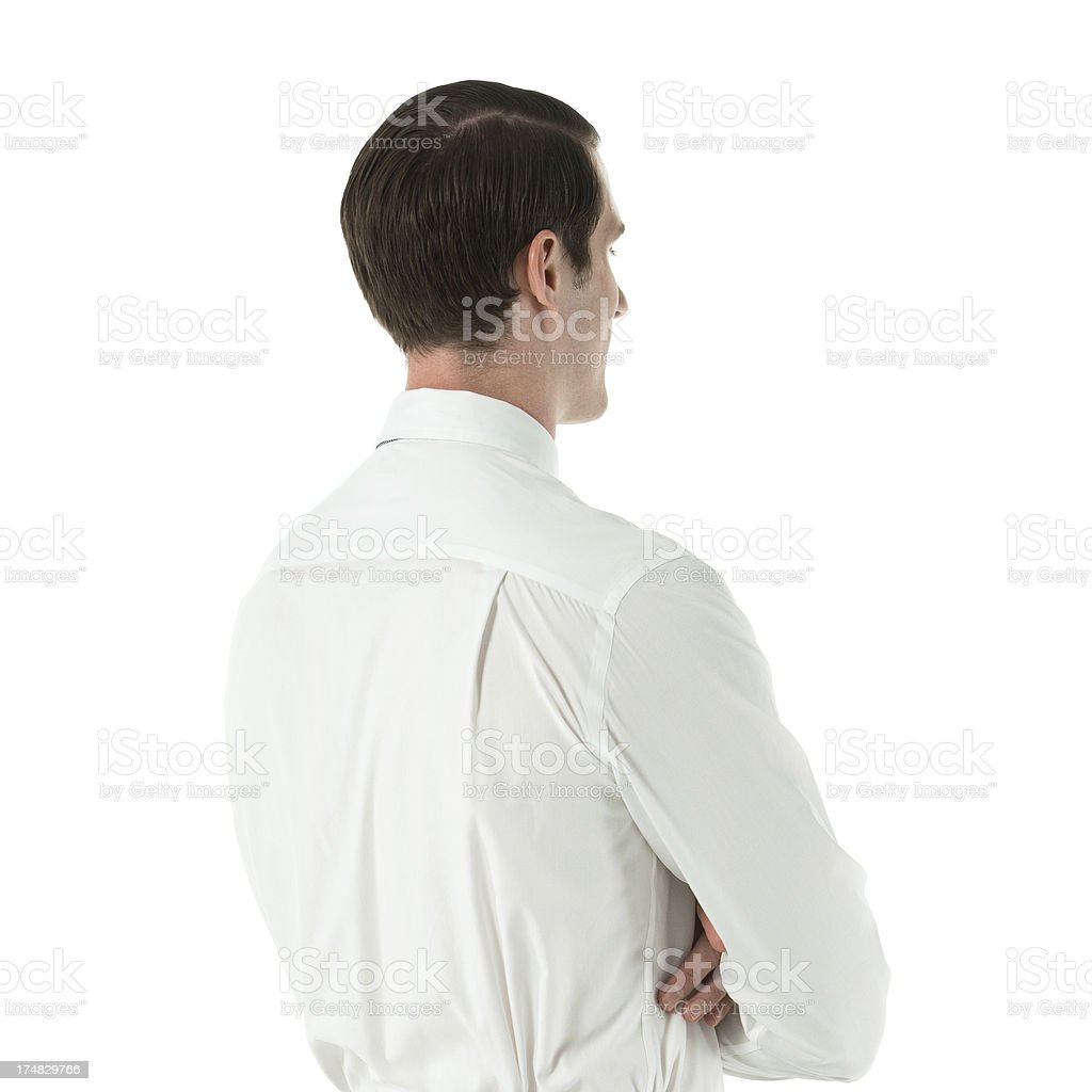 Profile of a businessman with his arms crossed royalty-free stock photo