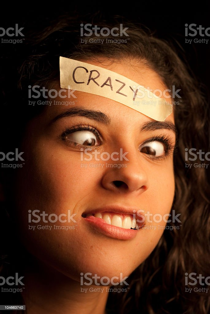 Profile of a crazy woman royalty-free stock photo