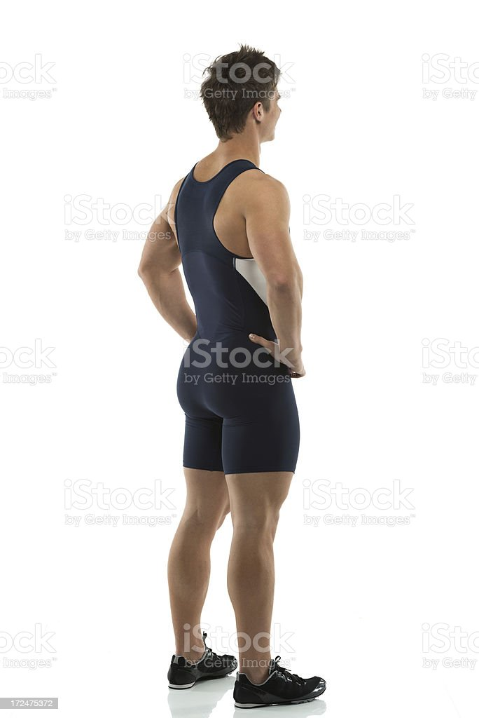 Profile of a male athlete standing royalty-free stock photo
