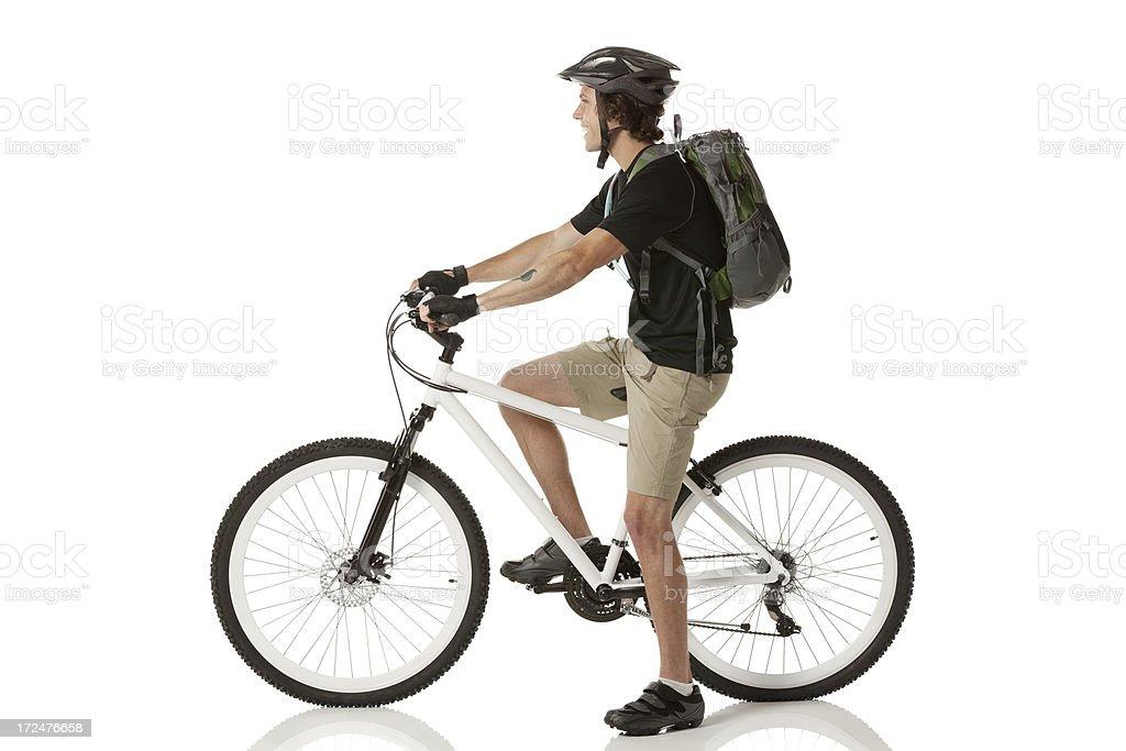 Profile of a male mountain biker royalty-free stock photo