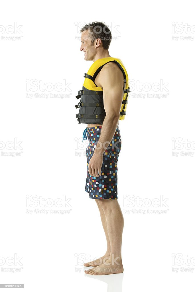 Profile of a man in life jacket royalty-free stock photo