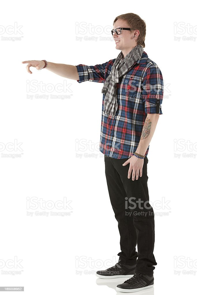 Profile of a man pointing royalty-free stock photo