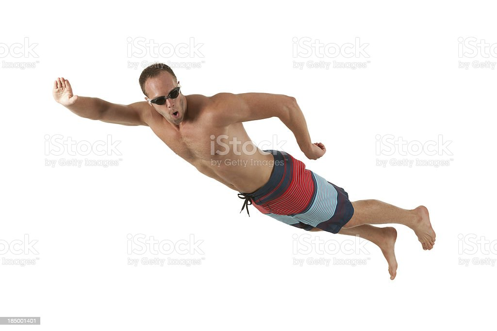Profile of a man swimming royalty-free stock photo