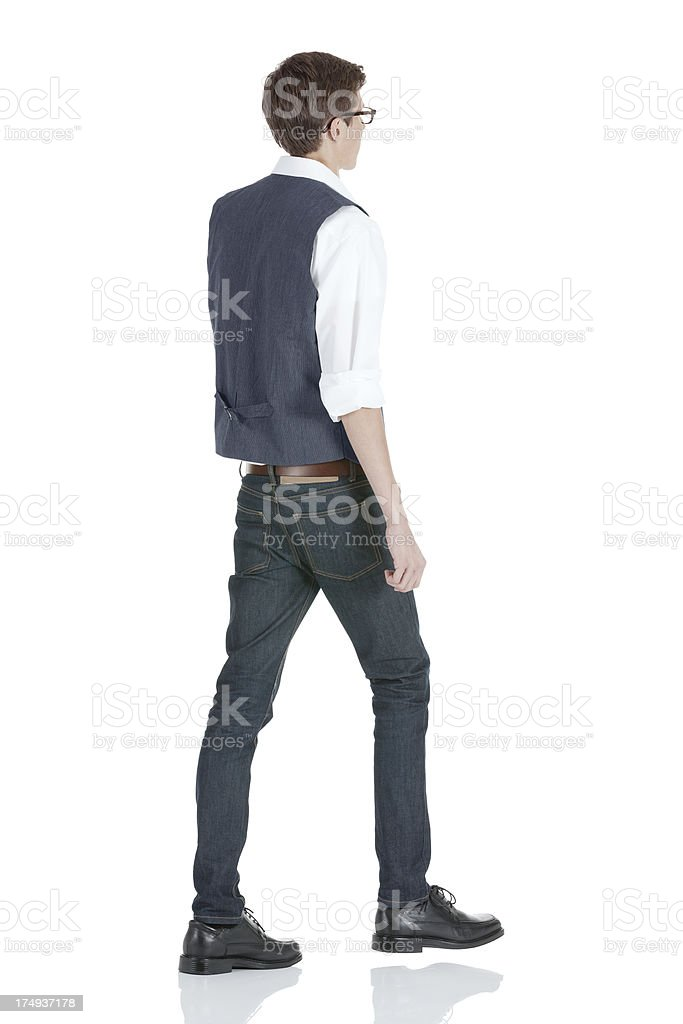 Profile of a man walking royalty-free stock photo