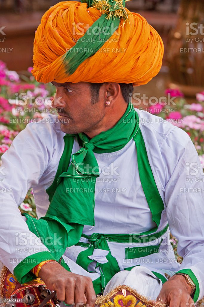 Profile of a member of a troupe of Rajasthani entertainers stock photo