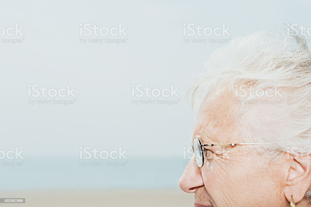 Profile of a senior woman stock photo