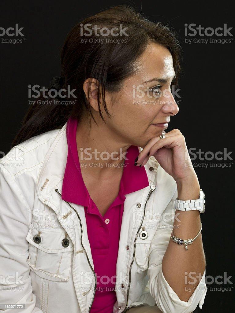 Profile of a Smiling hispanic woman royalty-free stock photo