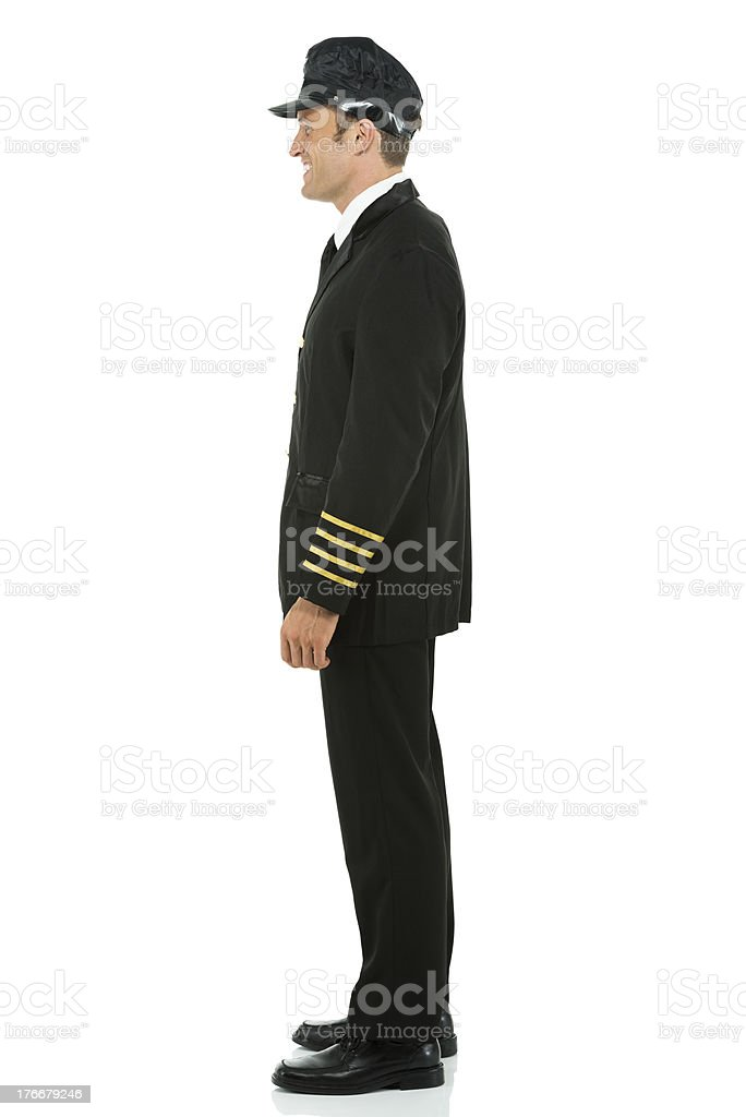 Profile of a smiling pilot royalty-free stock photo