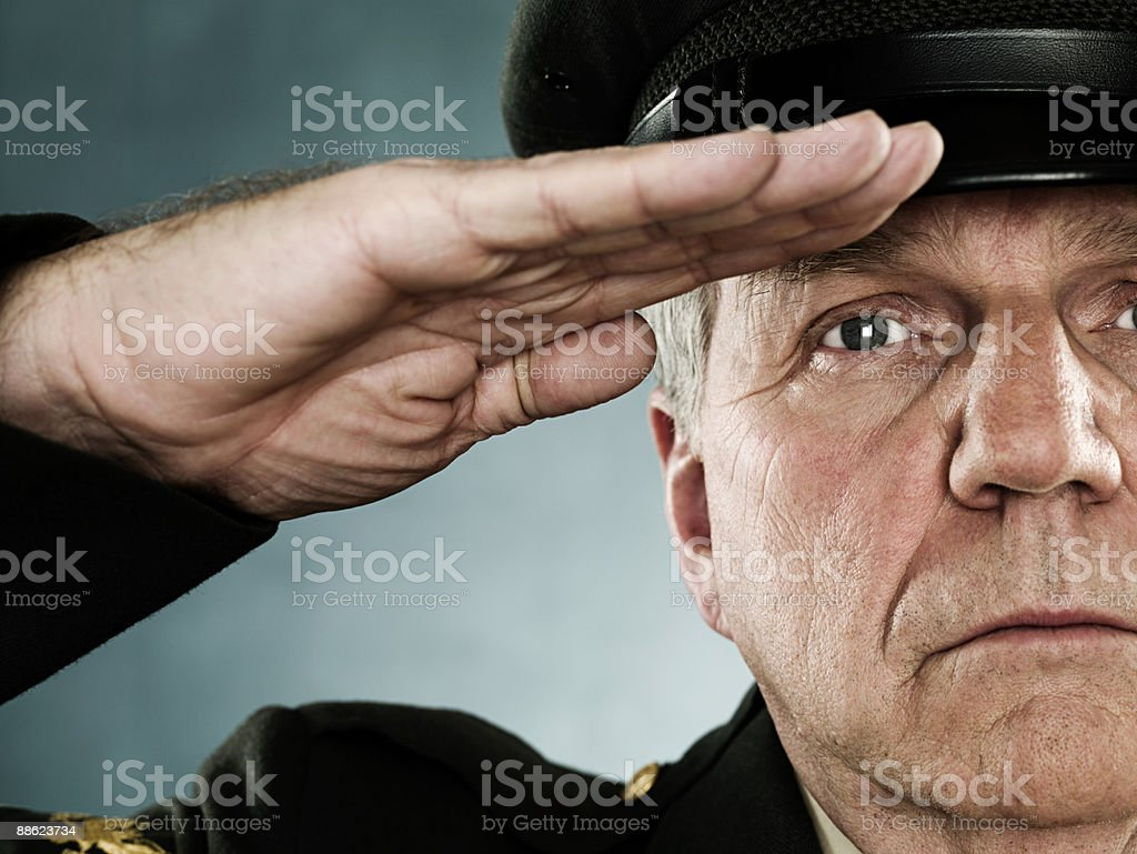 Profile of a soldier saluting royalty-free stock photo