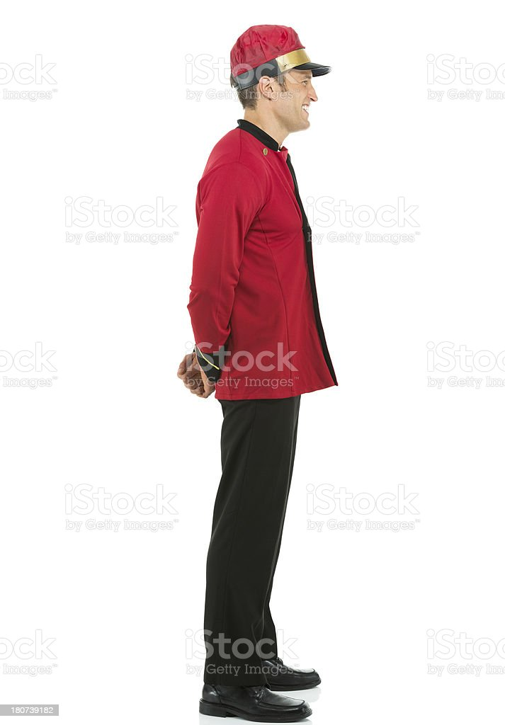 Profile of a valet smiling royalty-free stock photo