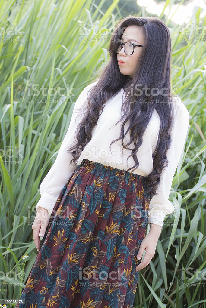 Profile of a young Asian woman Look stock photo