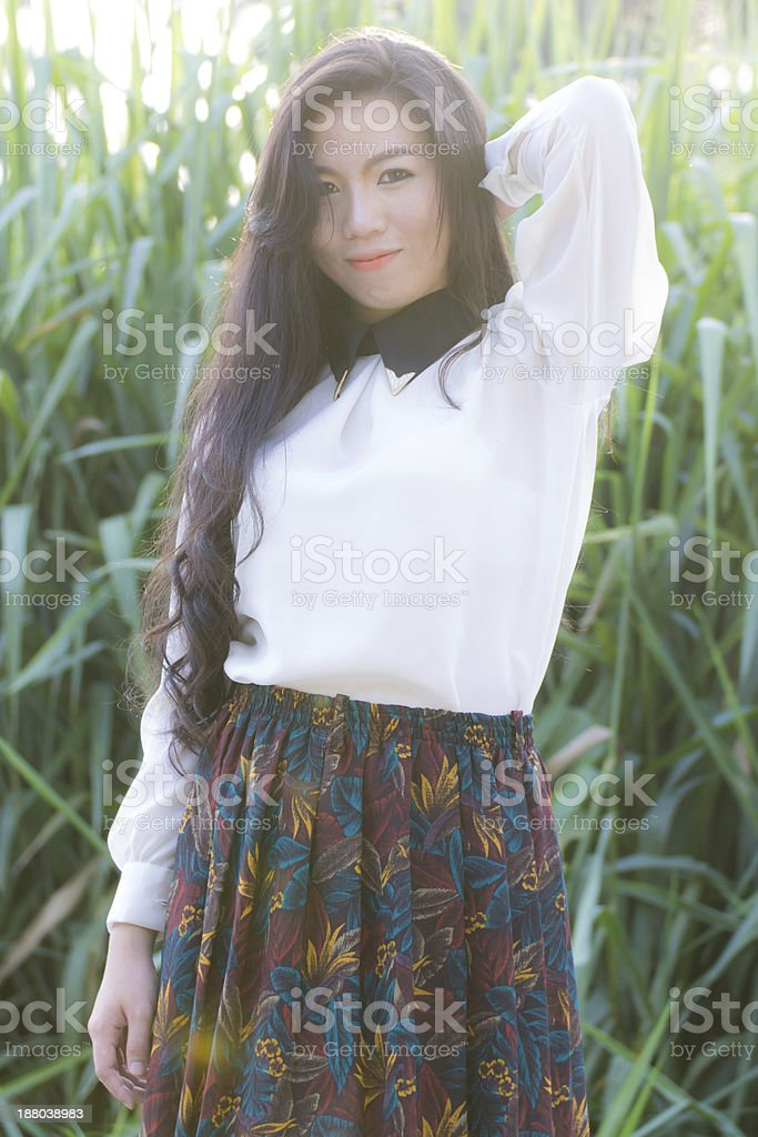 Profile of a young Asian woman stock photo