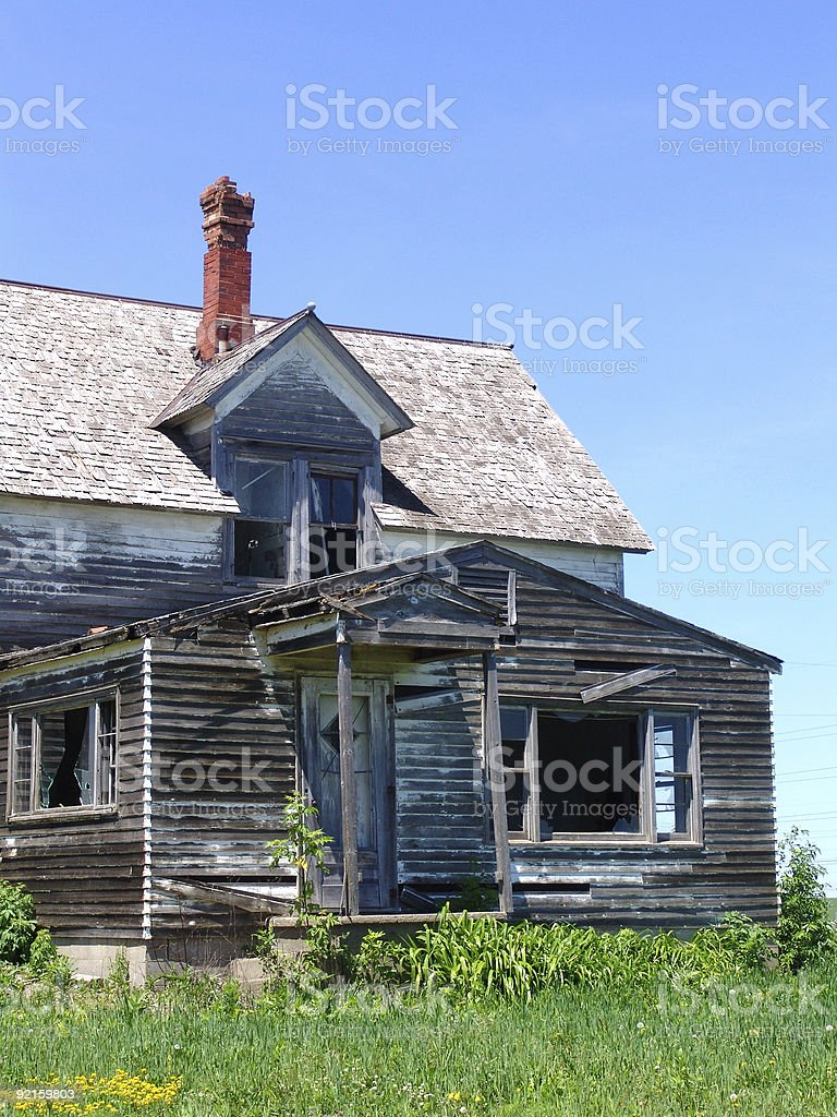 Profile of an Abandoned House stock photo