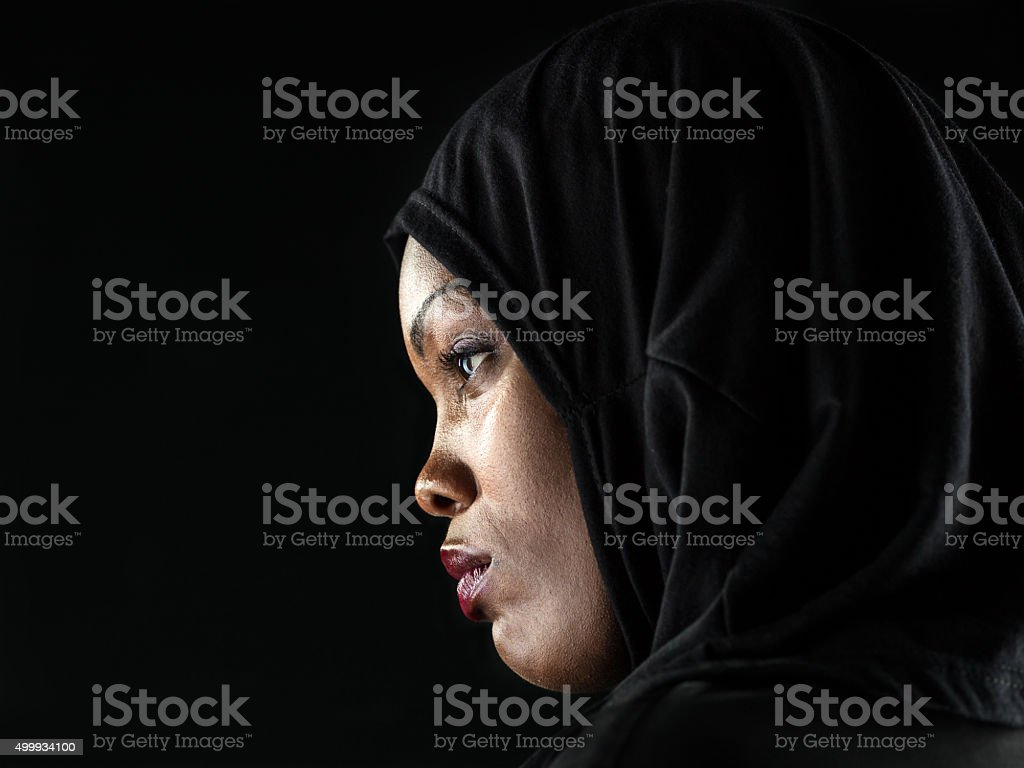 Profile of an African Muslim woman stock photo
