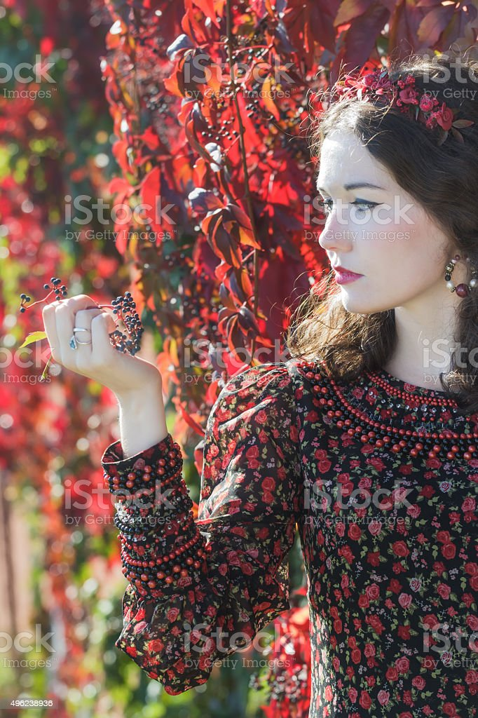 Profile of autumn girl in wreath with grape woodbine bunch stock photo