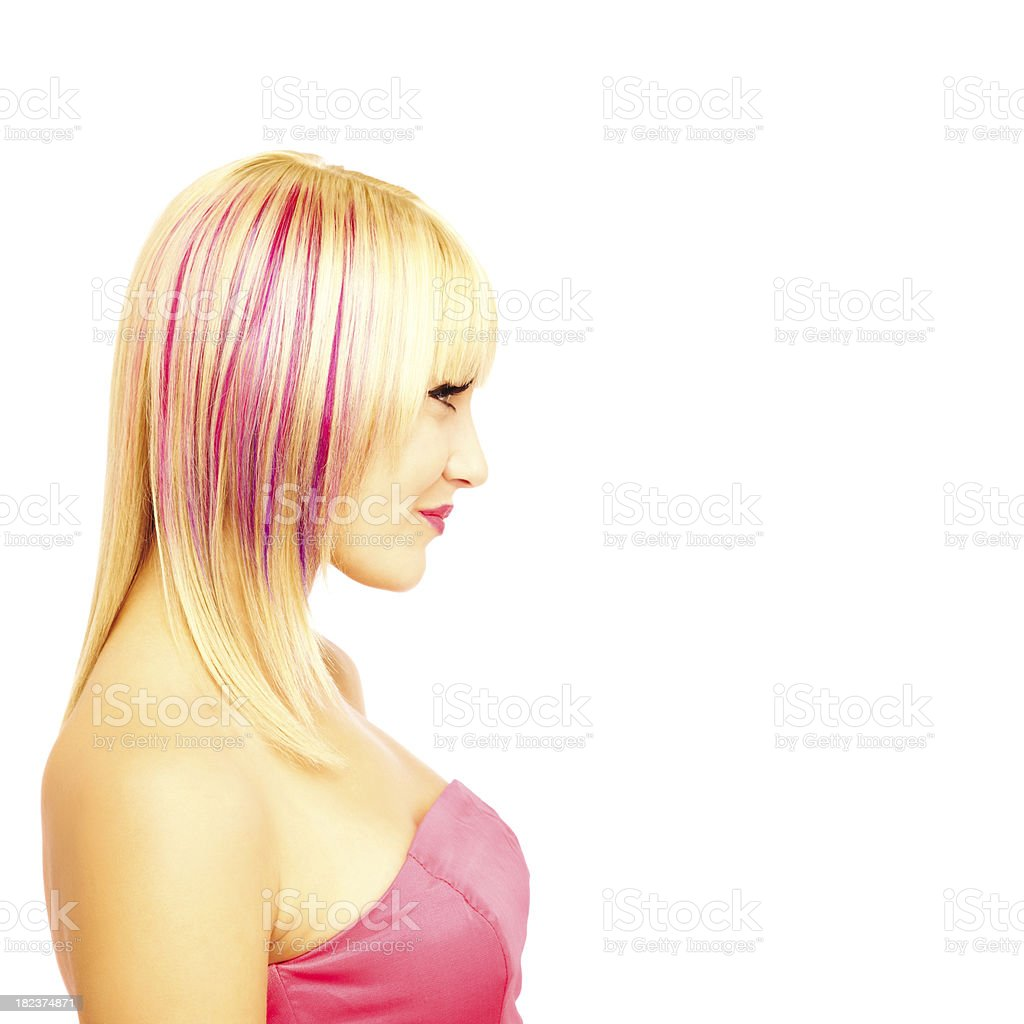 Profile of Beautiful Woman With Pink Streaks in Hair stock photo