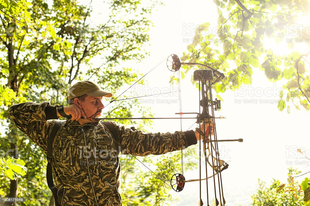 Profile of bowman with bow and arrow. royalty-free stock photo