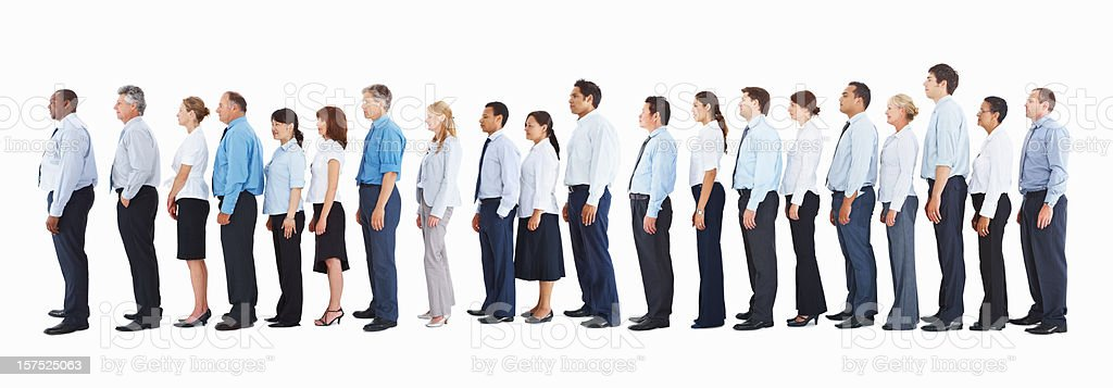 Profile of business people standing in a line on white stock photo