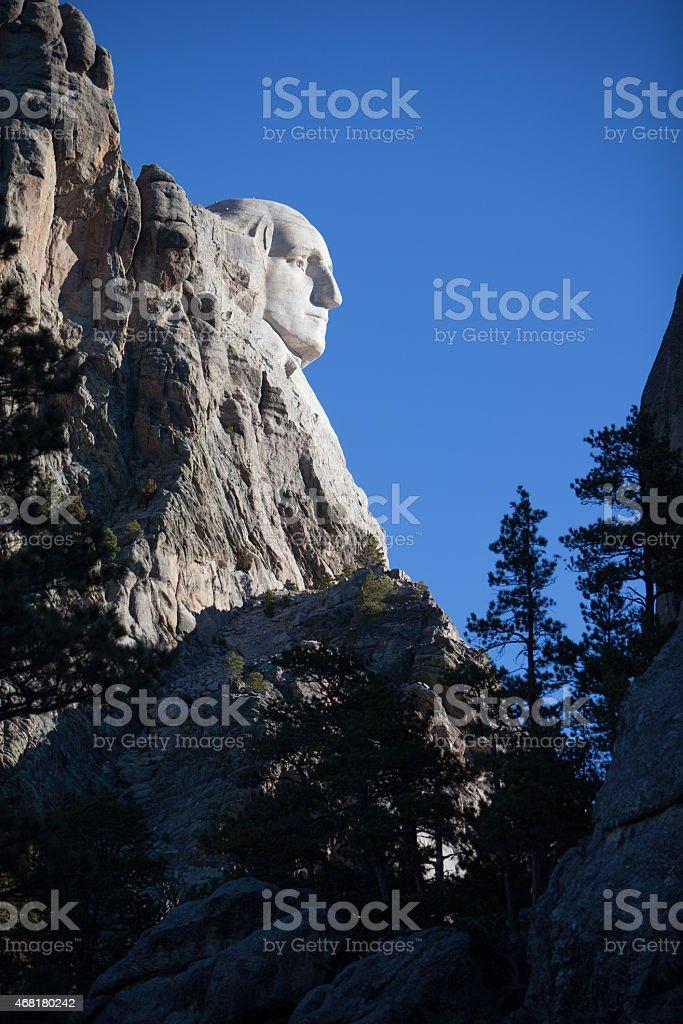 Profile of George Washington at Mount Rushmore. stock photo