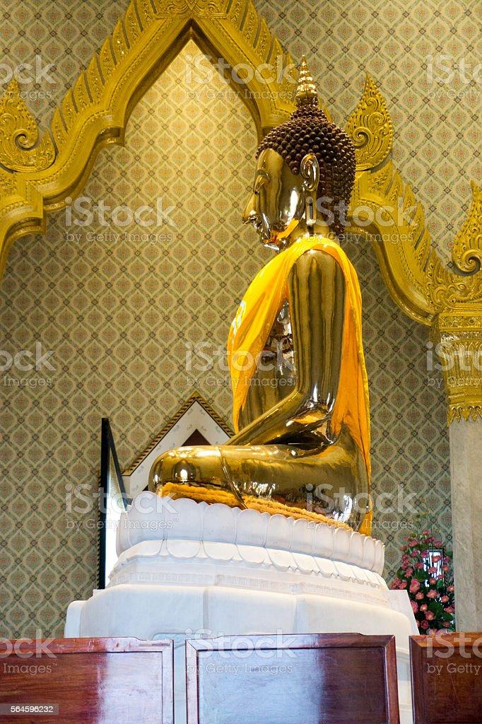 Profile of Gold Buddha stock photo