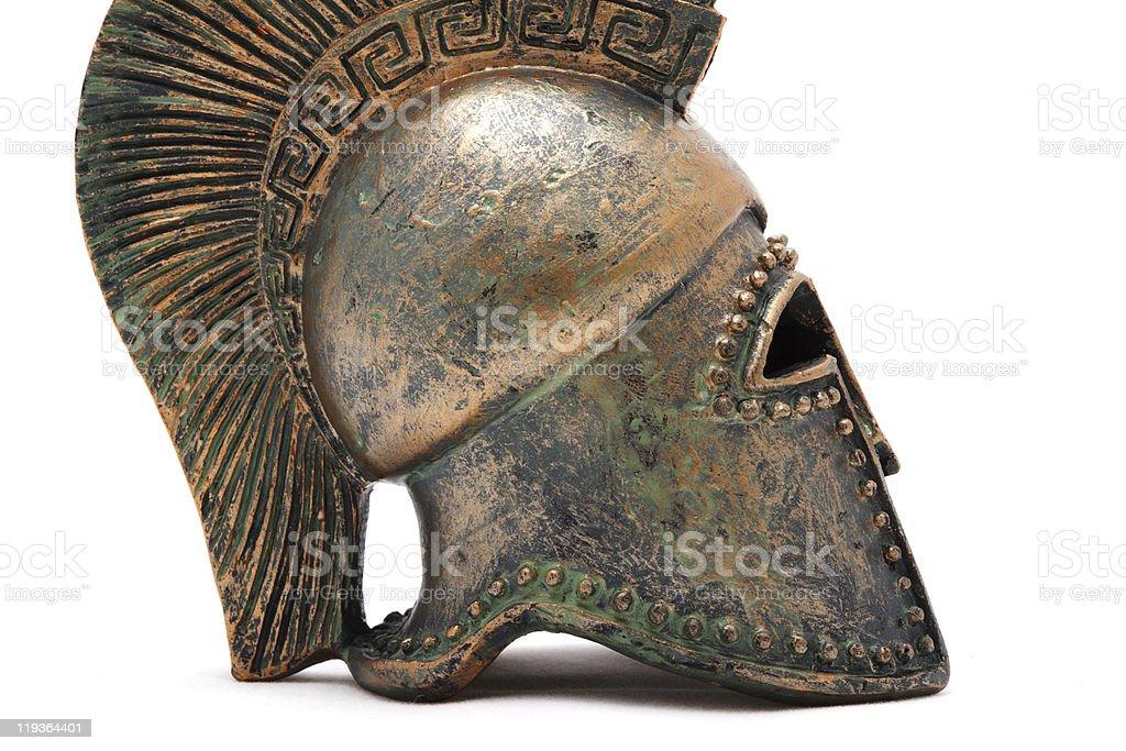 Profile of greek helmet. royalty-free stock photo