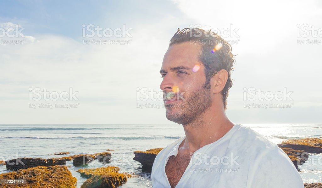 Profile of Man Living in Tropical Bali Indonesia Travel Destination stock photo