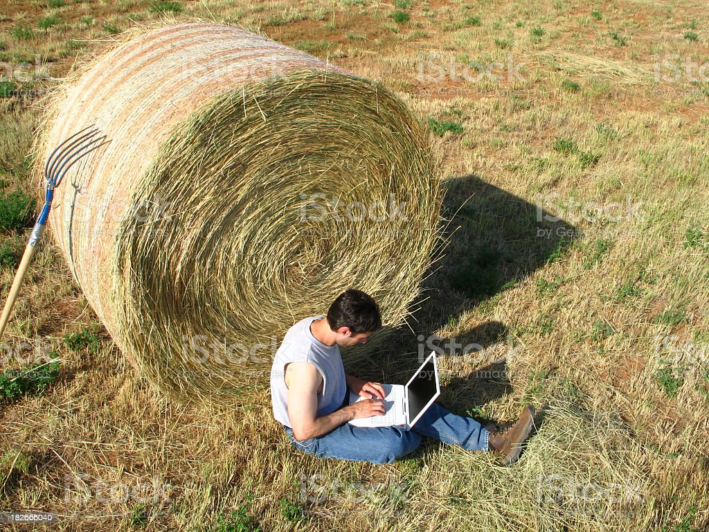 Profile of Man with Laptop Computer in Field by Haystack stock photo