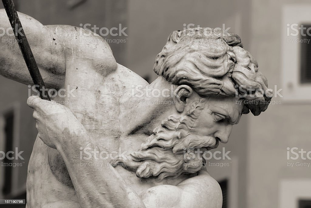 Profile of Neptune, Piazza Navona, Rome Italy royalty-free stock photo