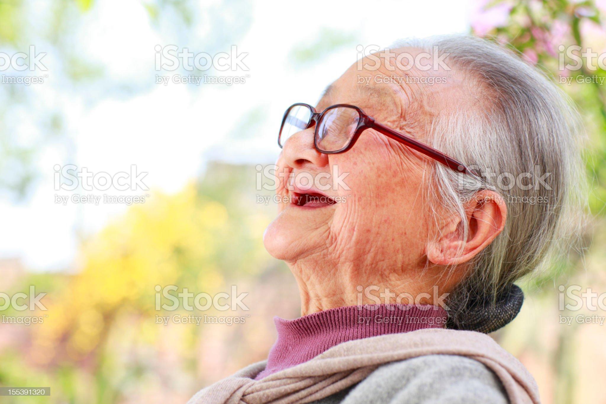 profile of senior asian woman royalty-free stock photo