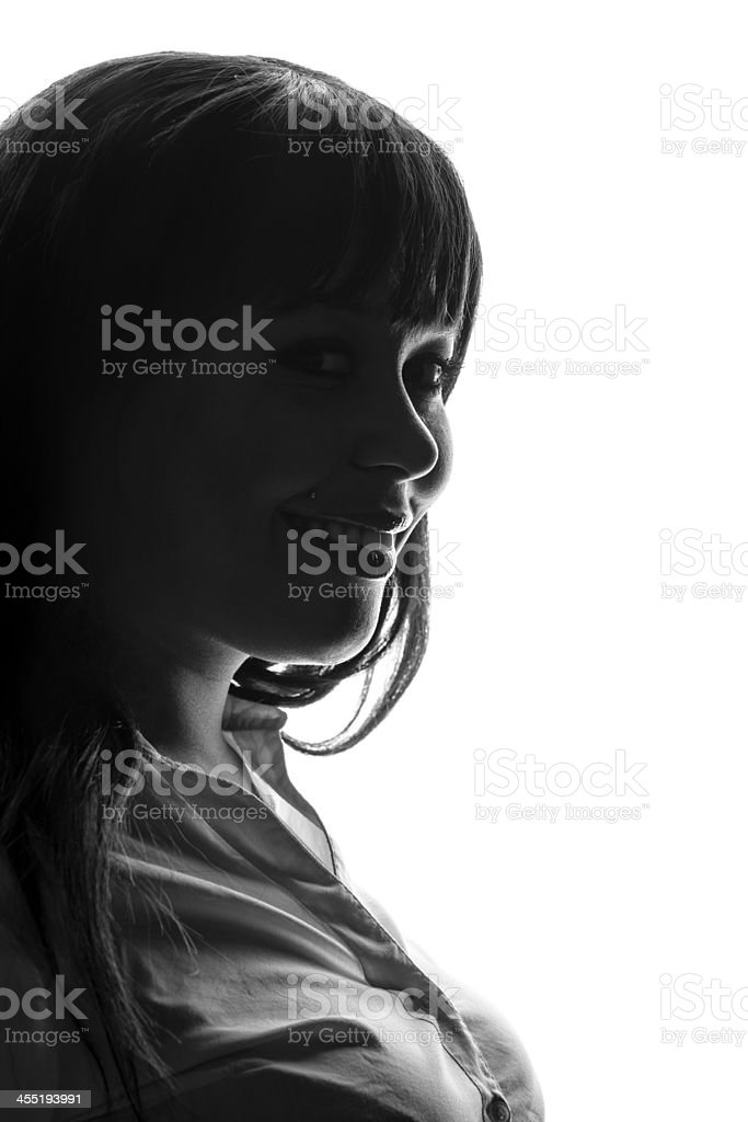 Profile Of Smiling Woman stock photo
