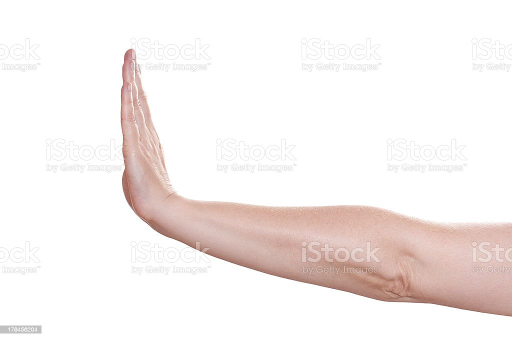Profile of the hand sign stop stock photo