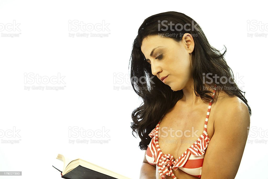 Profile Of Woman Reading stock photo