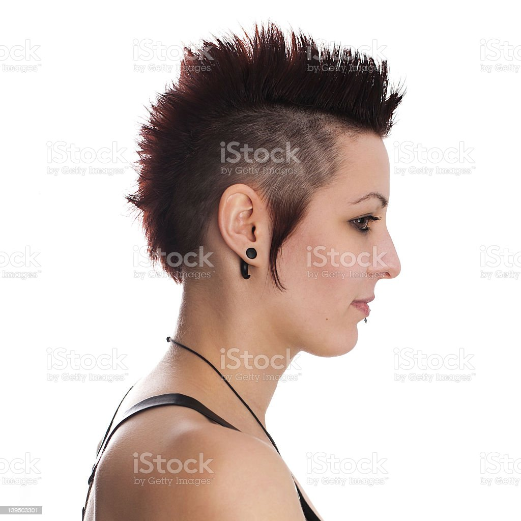 Profile of young female goth royalty-free stock photo