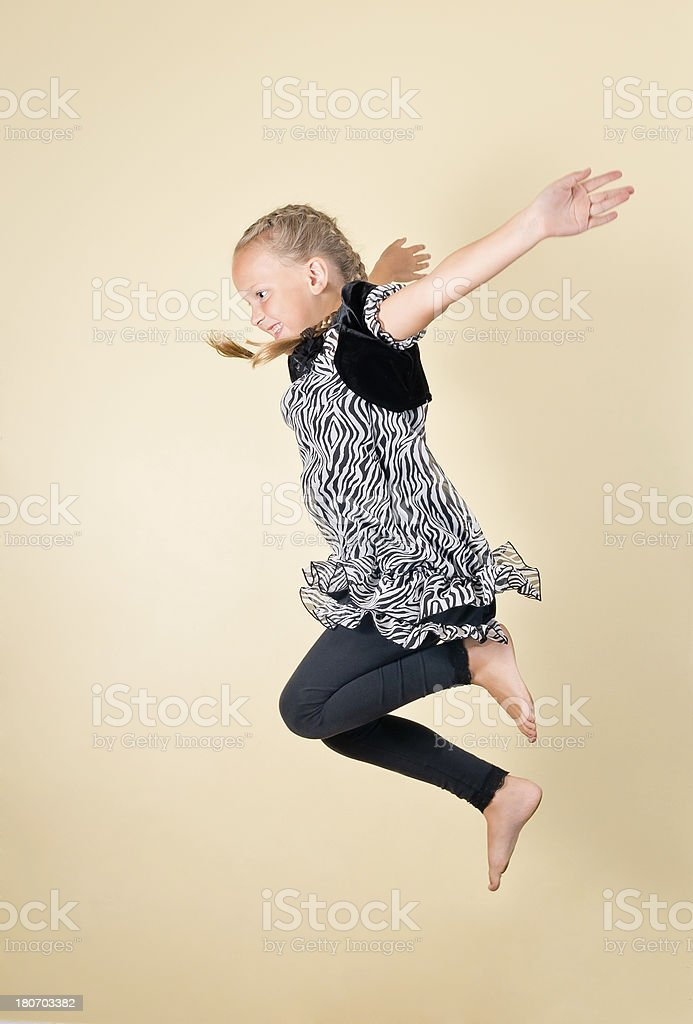 Profile of Young Girl jumping royalty-free stock photo