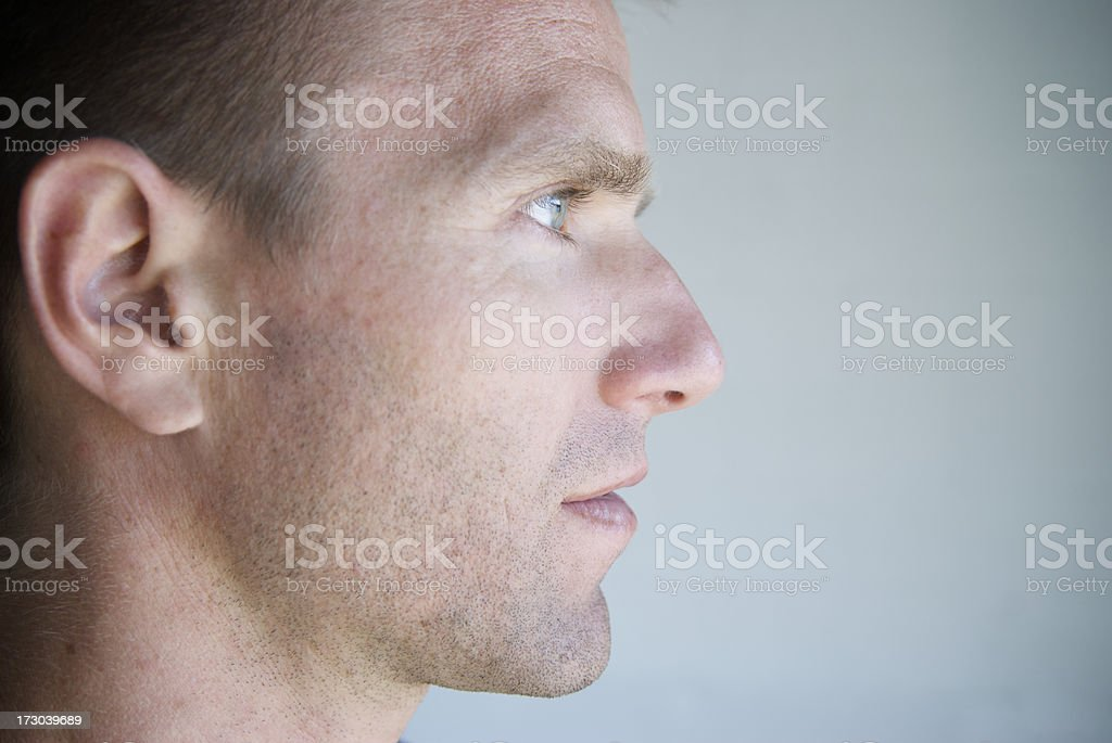 Profile of Young Man Close-Up Blue Eyes stock photo
