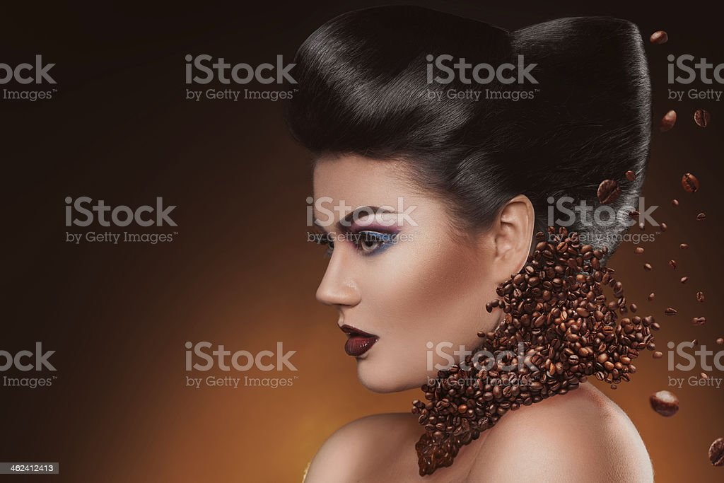 Profile photo of sexy adult woman with make up stock photo
