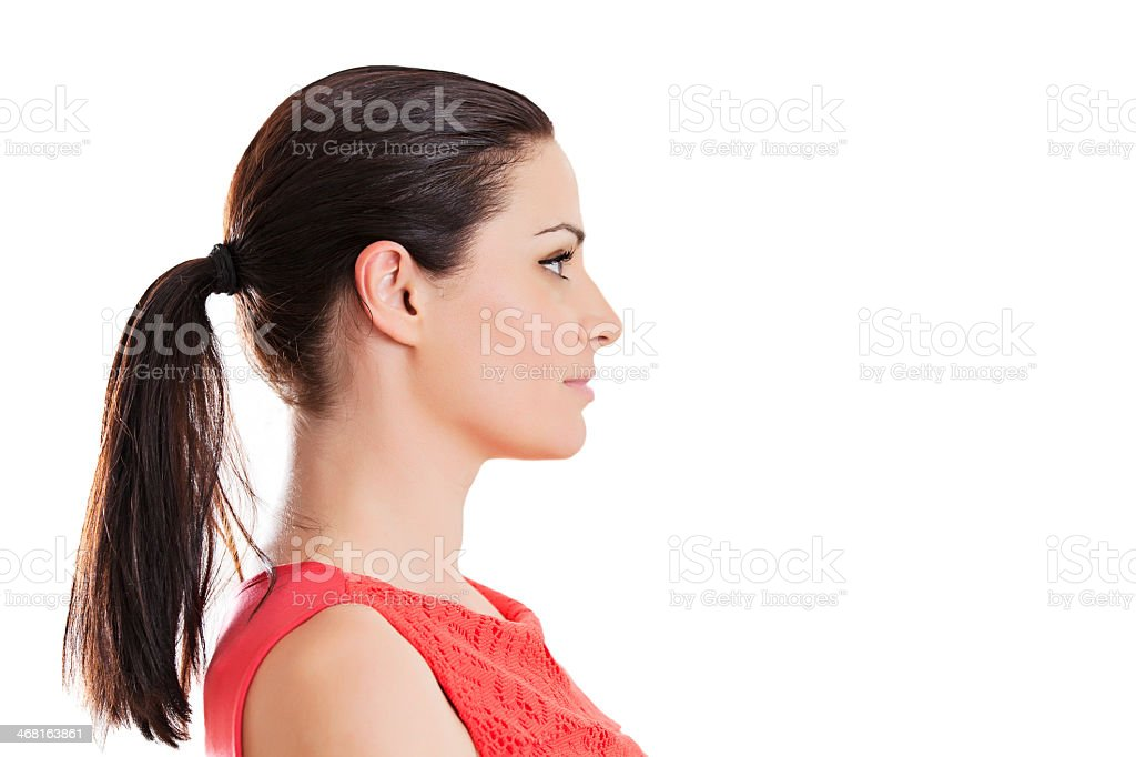 Profile portrait of a young woman stock photo