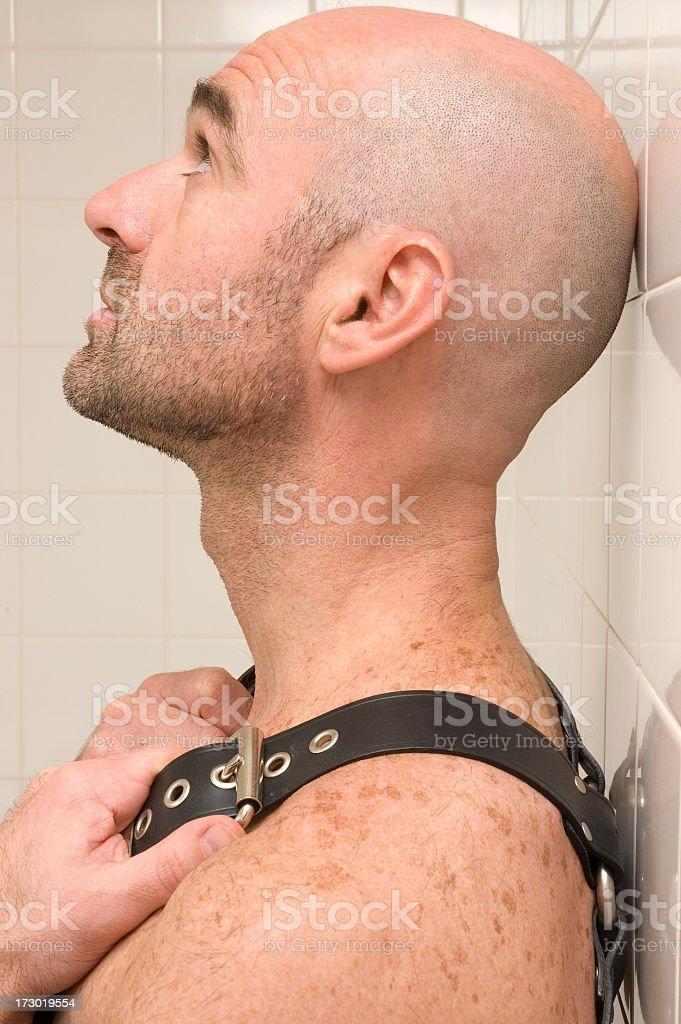 Profile portrait of bald man royalty-free stock photo