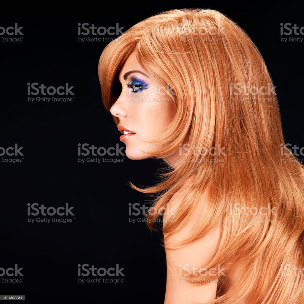 Profile portrait  of  beautiful woman with red hairs stock photo