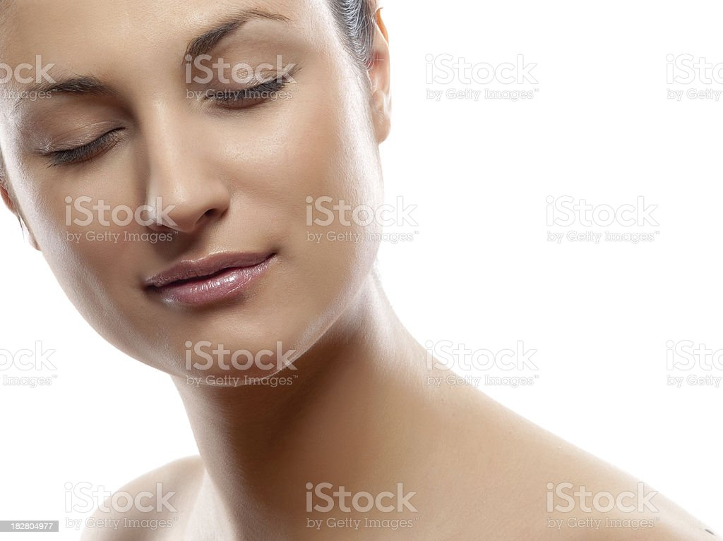 Profile portrait of young attractive caucasian female face with stock photo